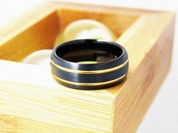 black and gold tungsten mens ring with custom engraving
