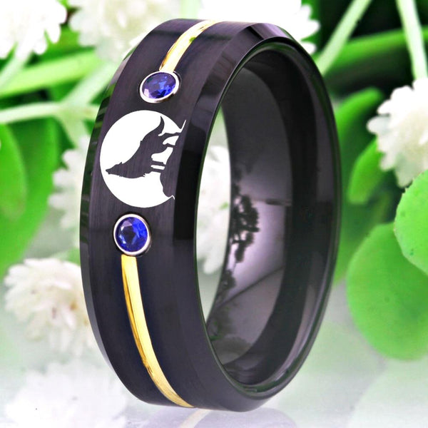 Wolf Howling Black Tungsten Mens Ring
