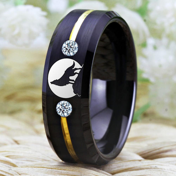 Black Wolf Howling Tungsten Mens Ring