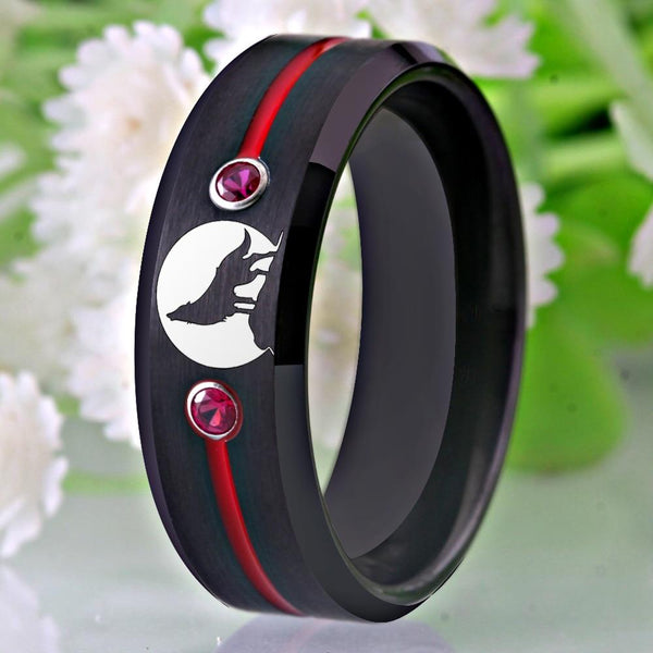 Wolf Howling Tungsten Mens Ring