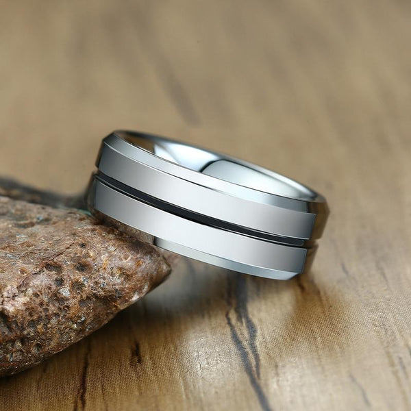 Rings for him - Personalized silver black Tungsten mens ring