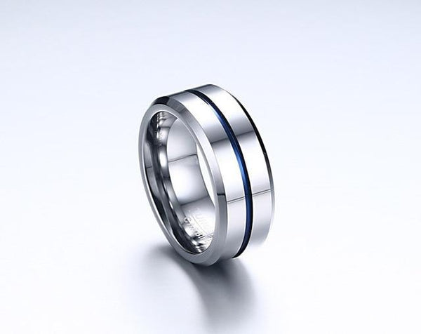 Rings for him - Personalized silver blue Tungsten mens ring