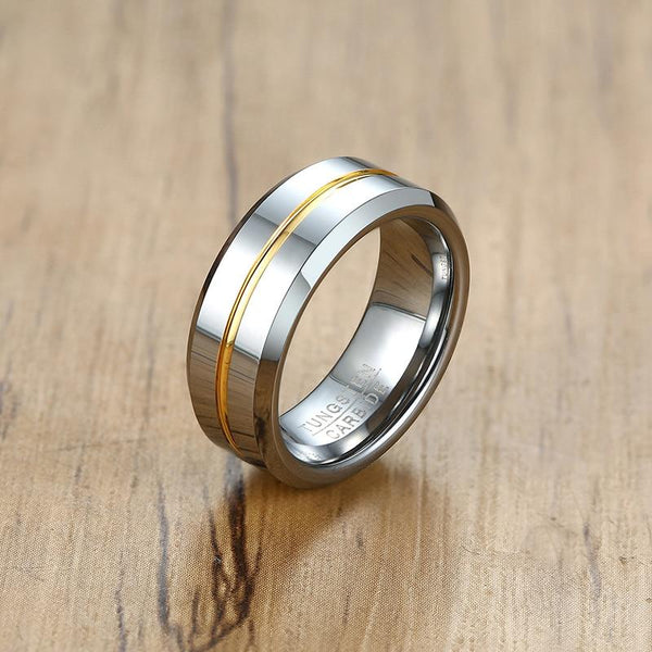 Rings for him - Personalized silver yellow Tungsten mens ring