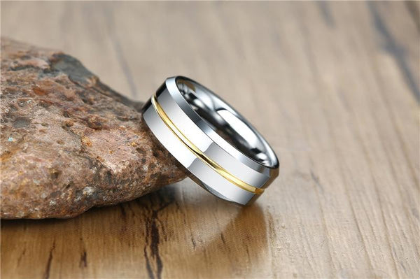 Rings for him - Personalized silver gold Tungsten mens ring