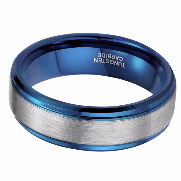 Ring for him - blue and silver Tungsten mens ring