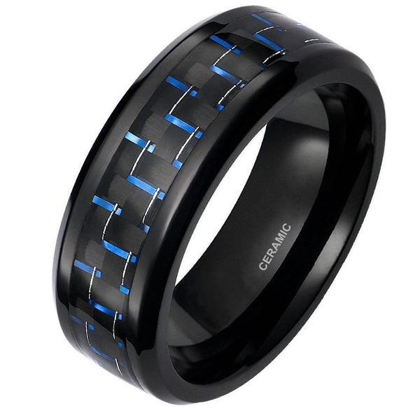 8mm blue and black ceramic mens ring