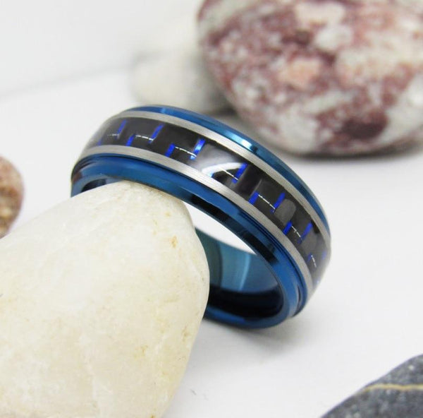 Rings for him - blue and silver mens ring