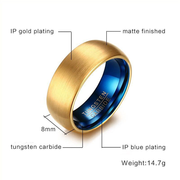 Rings for him - Gold and blue color Tungsten mens ring