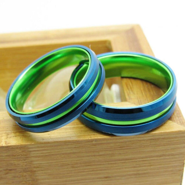 Blue & Green Groove Tungsten Mens Ring
