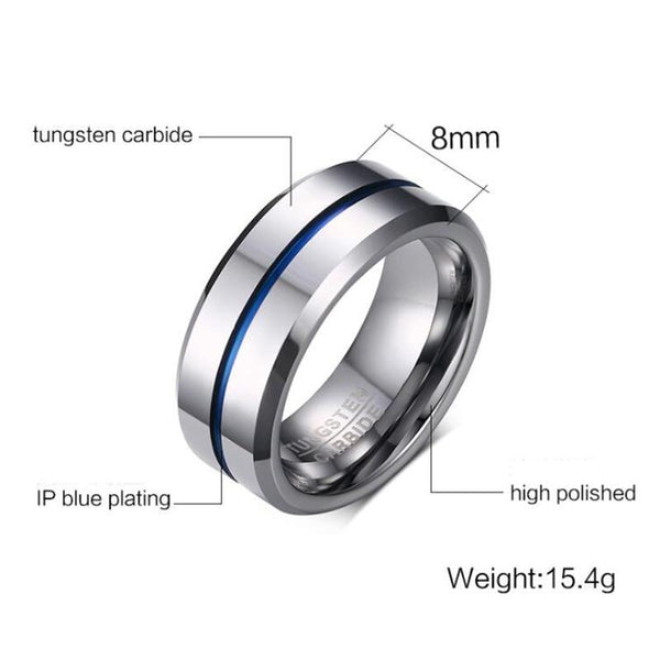 Rings for him - silver and blue Tungsten mens ring