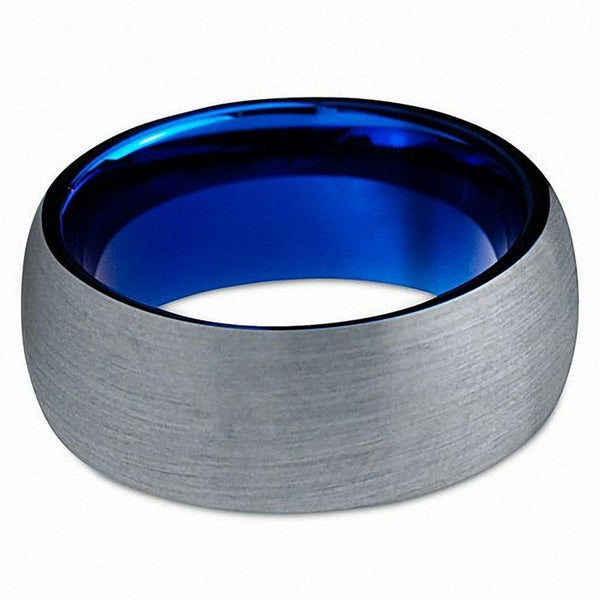 Personalized blue and Silver mens ring