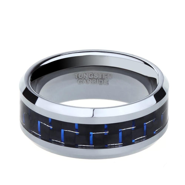 Personalized blue and silver Tungsten mens ring
