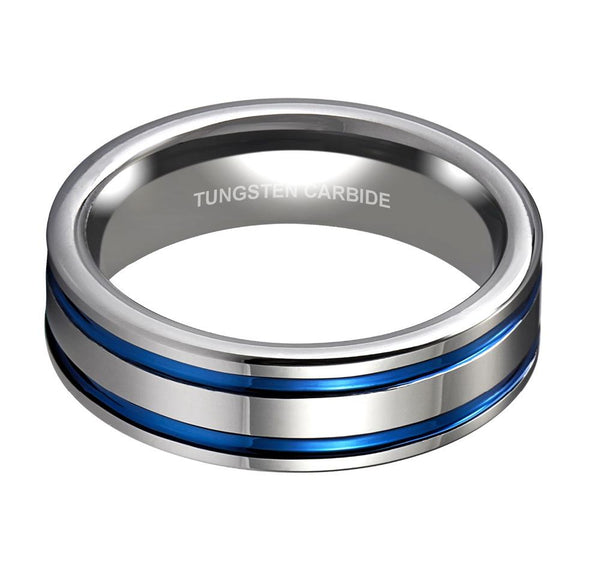 blue polished silver Tungsten mens ring