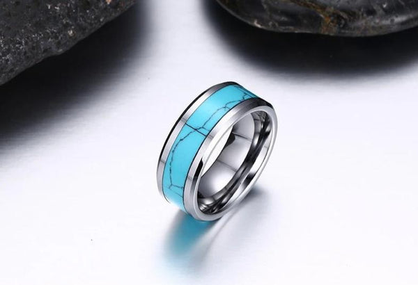 turquoise rings - blue turquoise silver Tungsten mens ring