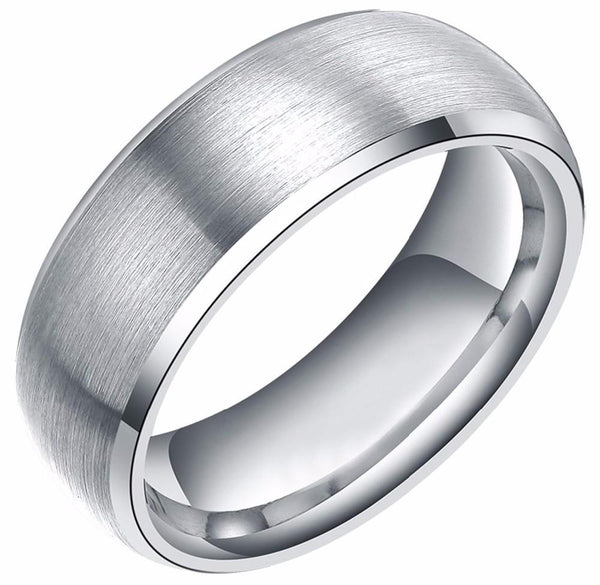 Brushed Polished Silver Tungsten Mens Ring