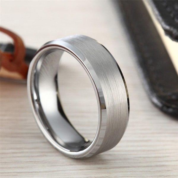 Rings for him - brushed silver Tungsten mens ring