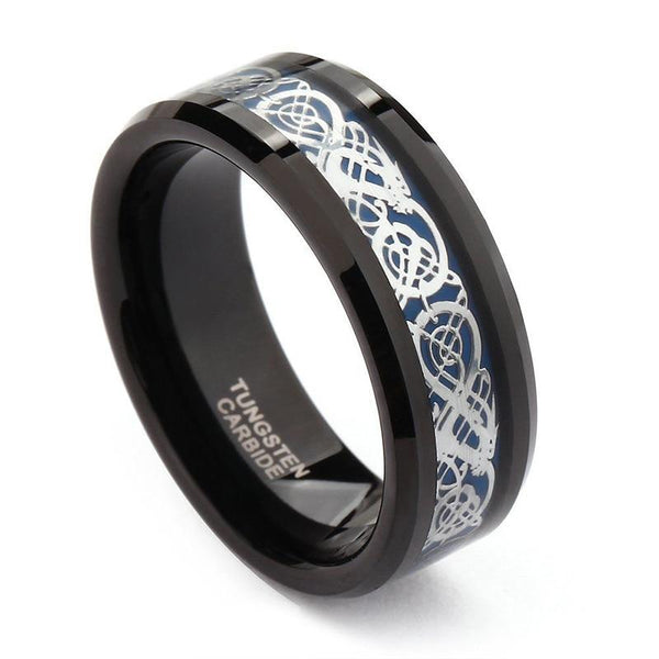 Celtic dragon silver and blue black Tungsten mens ring