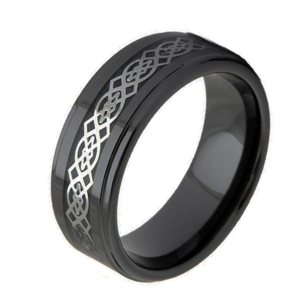 Celtic knot black ceramic mens ring