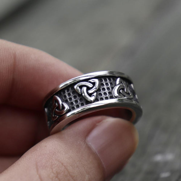 Celtic Trinity Knot Stainless Steel Silver Ring