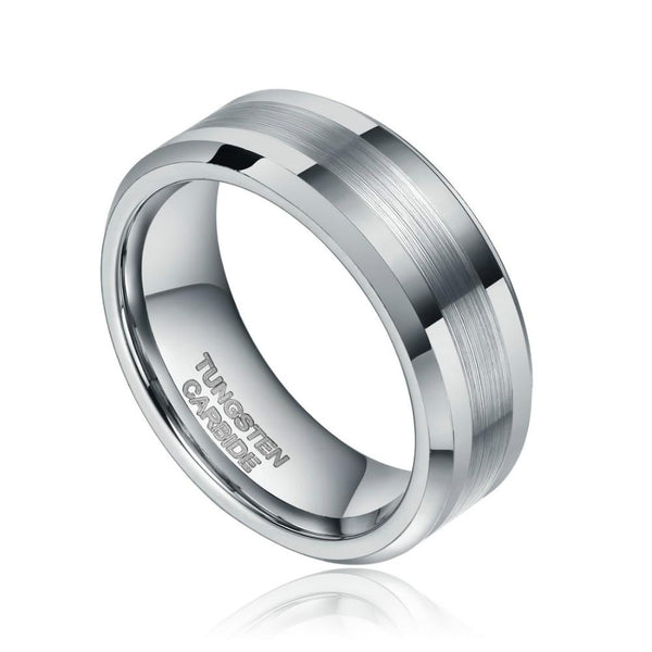 8mm Centre Brushed Silver Tungsten Mens Ring