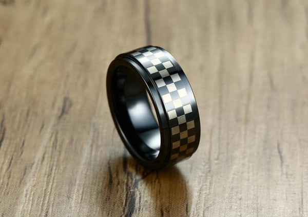 Unique mens ring - Checkerboard game black mens ring