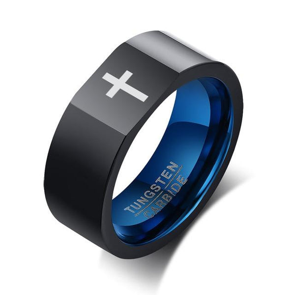 Catholic Christians rings - religious black and blue mens ring