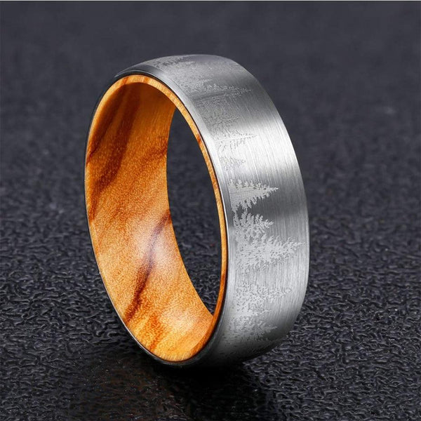 Christmas Pine Trees Forest Oliver Wood Tungsten Mens Ring