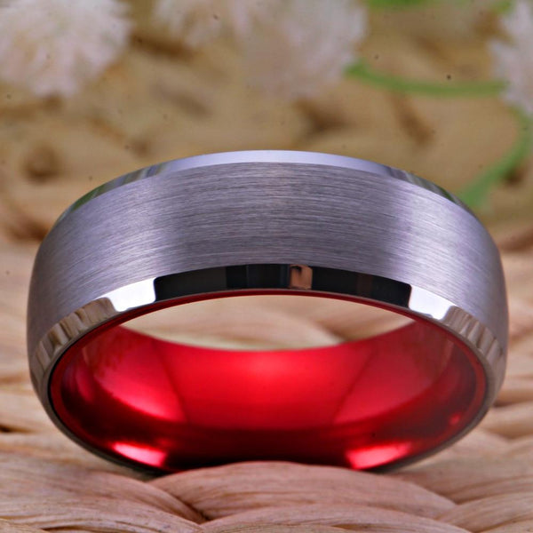 Romantic Red & Silver Brushed Mens Ring