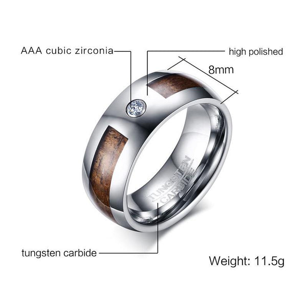 wood rings - personalized silver wood tungsten mens ring