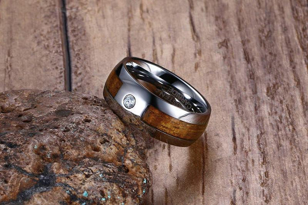 wood rings - personalized silver wood mens ring