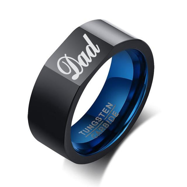 Gift for dad - fathers day gift black and blue Tungsten mens ring
