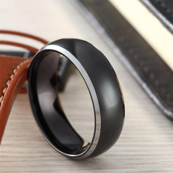 Personalized black and silver polished Tungsten mens ring