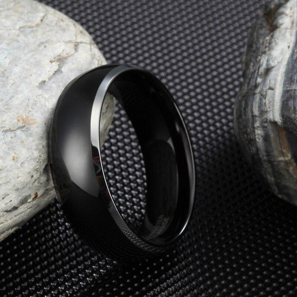 Personalized black and silver Tungsten mens ring