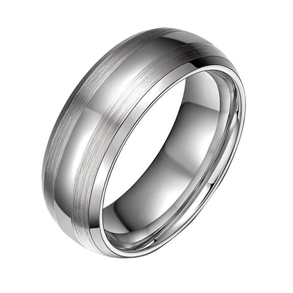 8mm Dome Brushed Silver Tungsten Mens Ring