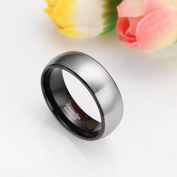 8mm Dome Brushed Tungsten Mens Ring