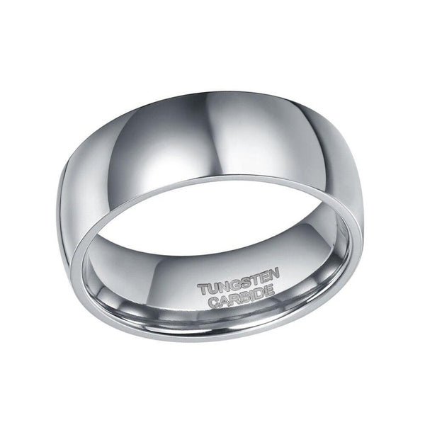8mm Dome Silver Polished Mens Ring
