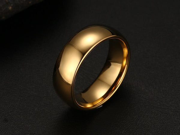 Personalized gold tungsten mens ring