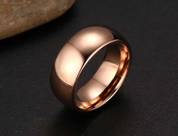 Personalized rose gold tungsten mens ring