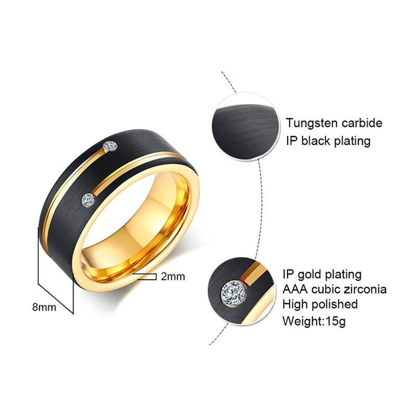 Personalized black and gold Tungsten mens ring