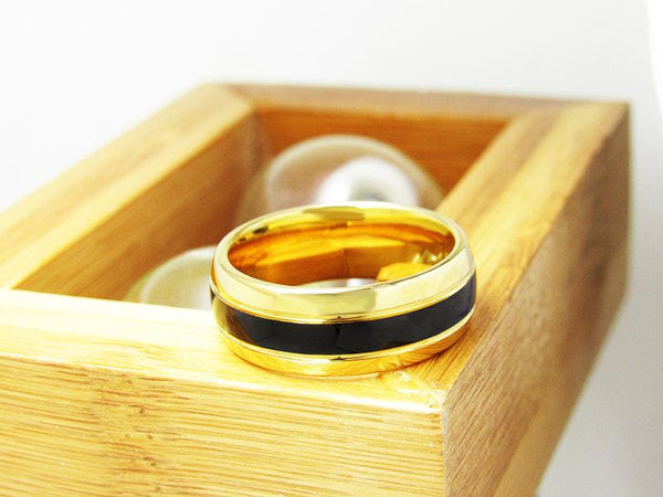 ring for him - gold and black mens ring