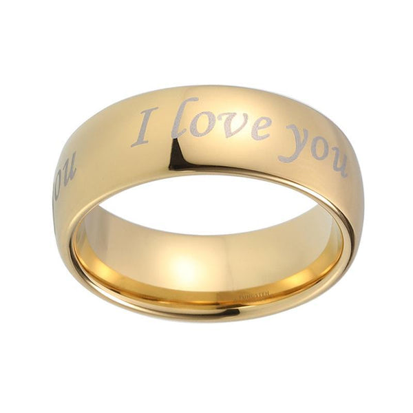 I Love You Gold Tungsten Mens Ring