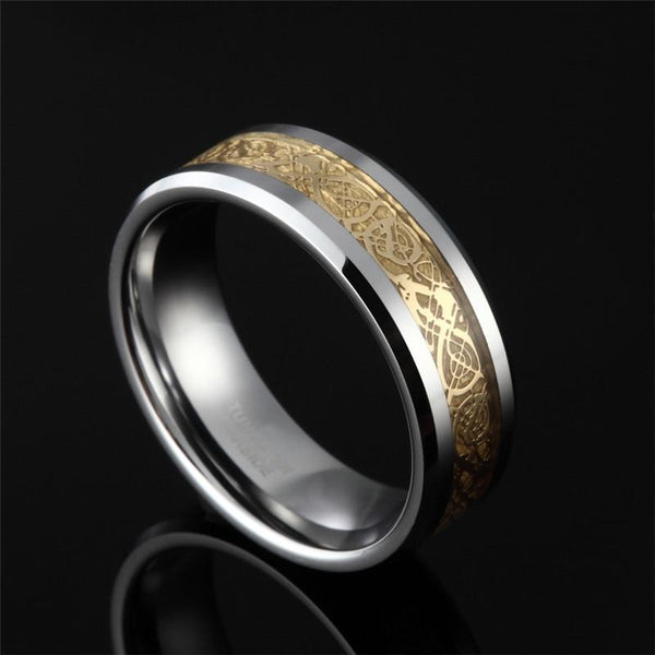 rings for him - gold and silver Tungsten mens ring