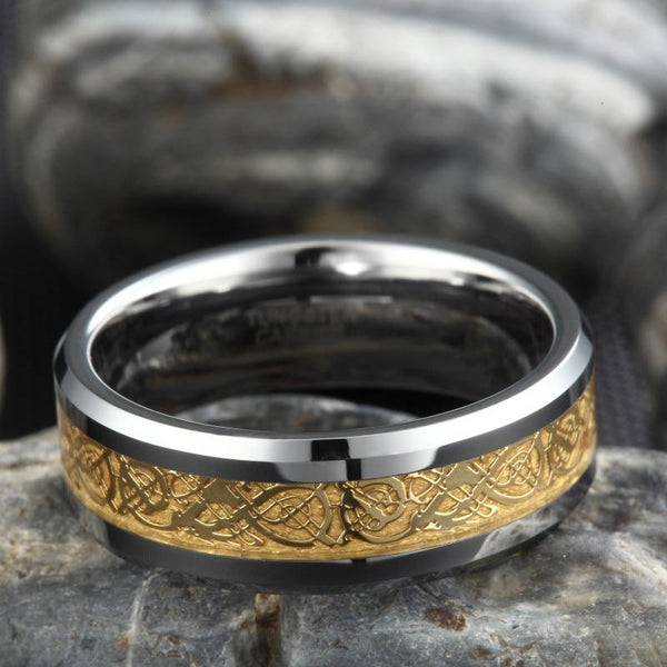 gold Celtic dragon and silver Tungsten mens ring