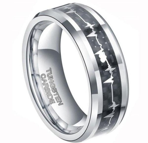Heartbeat silver and black tungsten ring