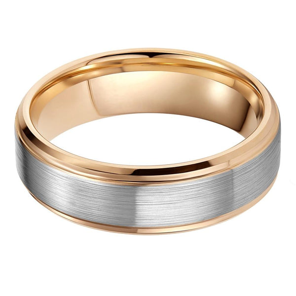 Custom silver and gold Tungsten mens ring