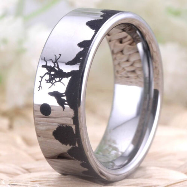 Howling Wolves Silver Tungsten Mens Ring