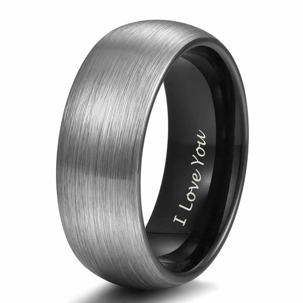 I Love You engraved black silver Tungsten mens ring