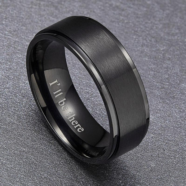 rings for him - mens black titanium ring with engraving