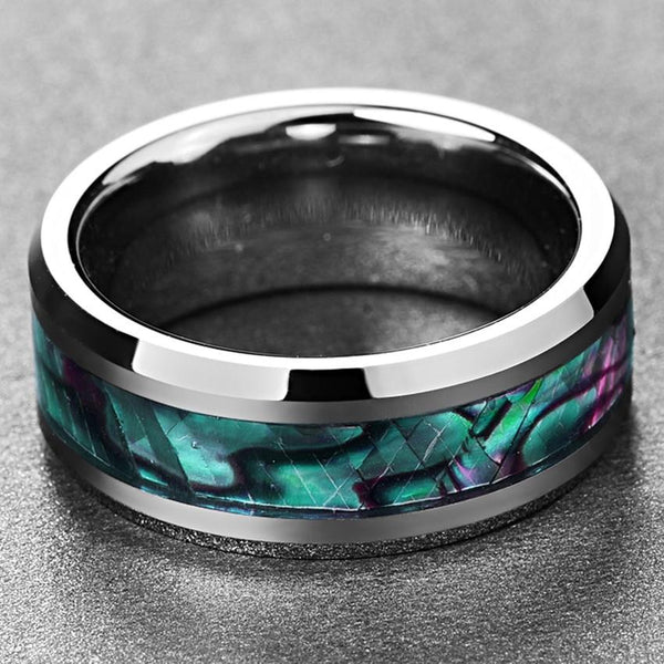 Abalone Shell and Silver Tungsten Mens Ring