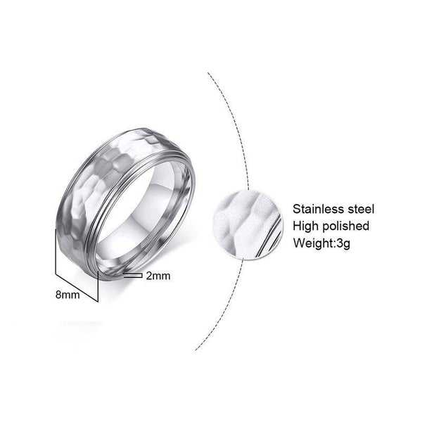 Unique cool mens ring - silver stainless steel male ring